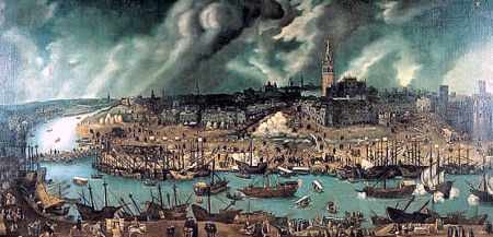 Port of Seville c. 1590 by Alonso Sanchez Coello